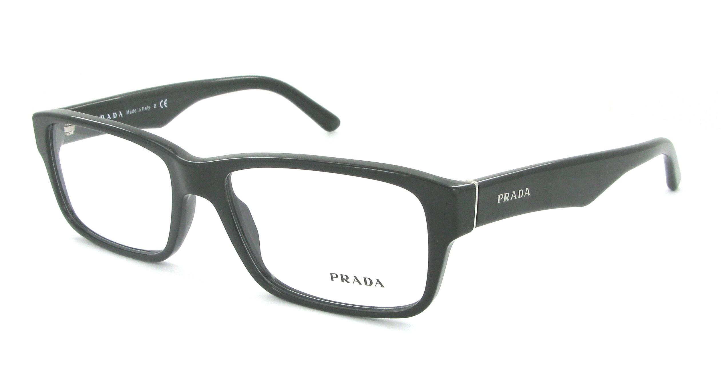 lunettes de vue prada pr 16mv 1ab1o1 55 16 homme noir. Black Bedroom Furniture Sets. Home Design Ideas